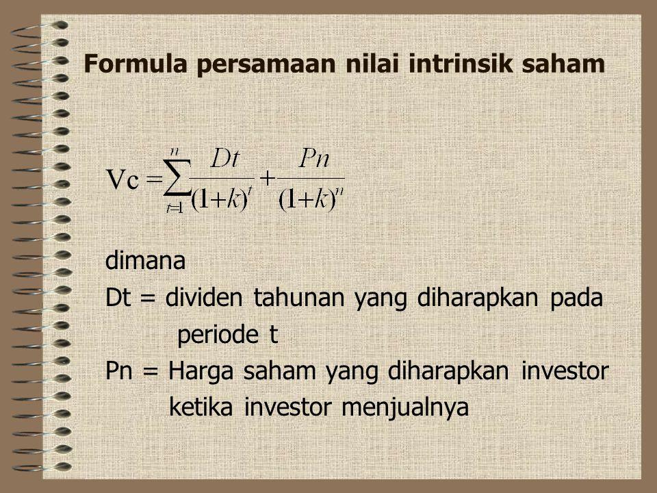 2. Saham biasa Nilai intrinsik saham biasa atau sering disebut dengan saham merupakan nilai sekarang dari cashflow saham dimasa yang akan datang. Cash