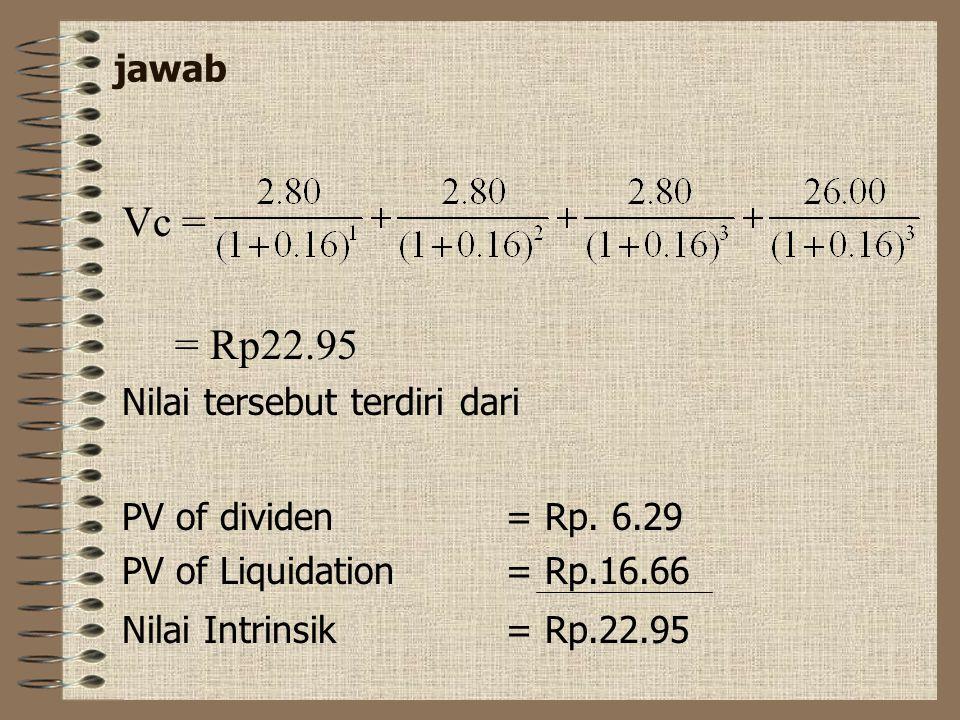 Perhitungan nilai saham Contoh Seorang investor pada perusahaan PT. SC berharap membayar dividen Rp.2..80/lembar selama 3 tahun ke depan. Pada akhir t