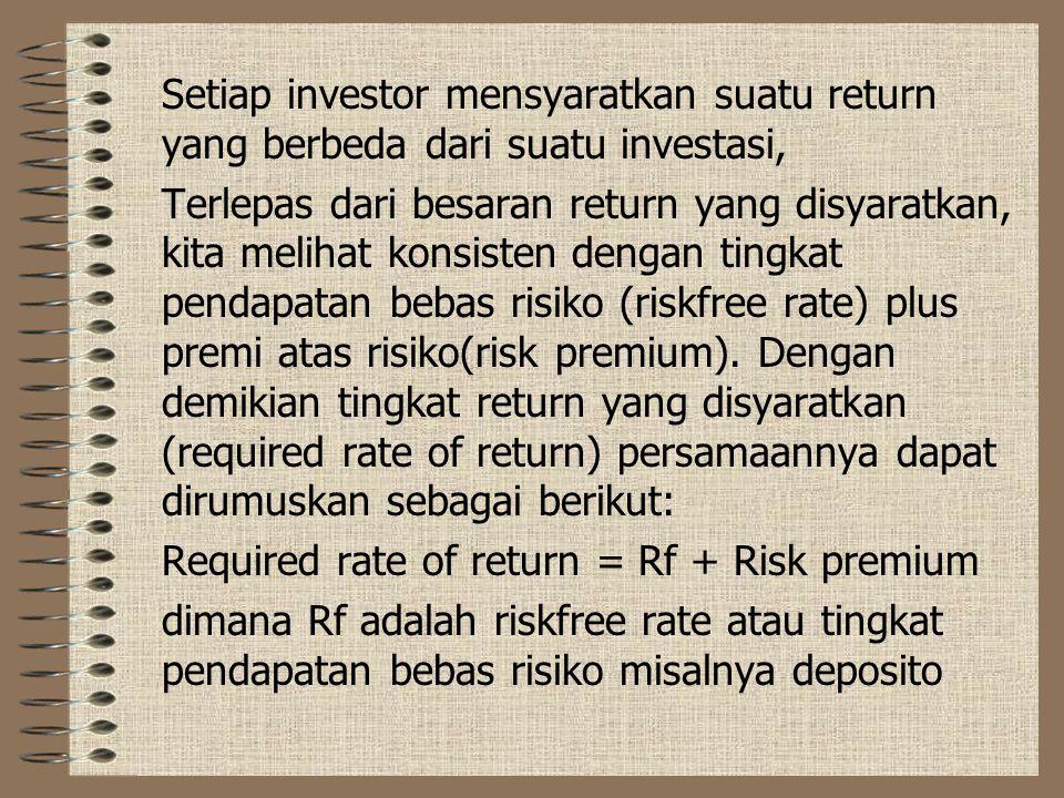 Setiap investor mensyaratkan suatu return yang berbeda dari suatu investasi, Terlepas dari besaran return yang disyaratkan, kita melihat konsisten dengan tingkat pendapatan bebas risiko (riskfree rate) plus premi atas risiko(risk premium).