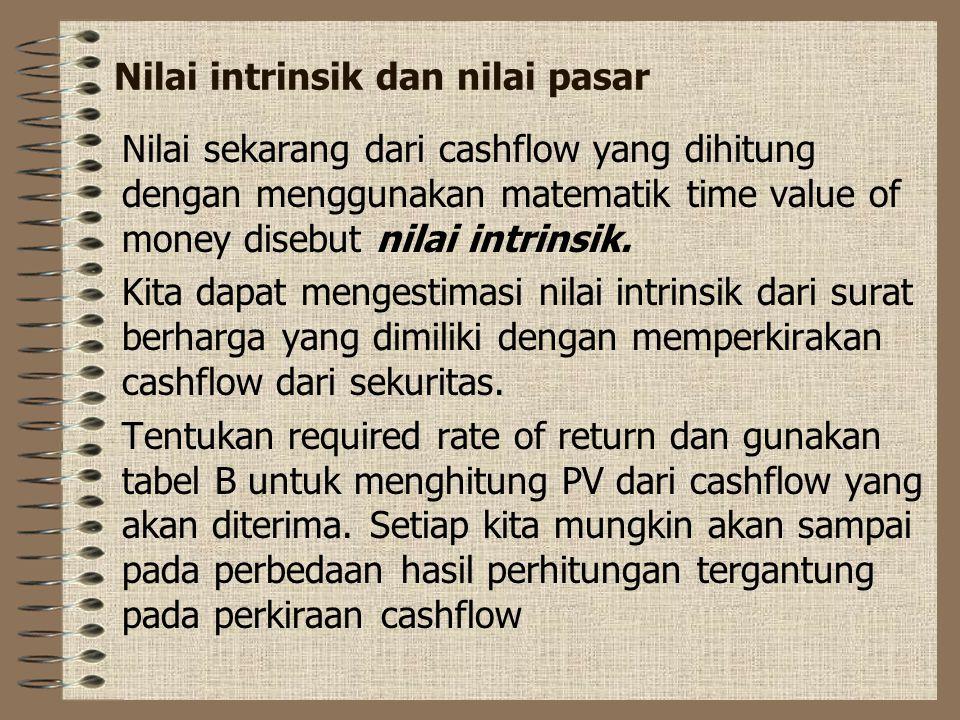 Nilai intrinsik dan nilai pasar Nilai sekarang dari cashflow yang dihitung dengan menggunakan matematik time value of money disebut nilai intrinsik.