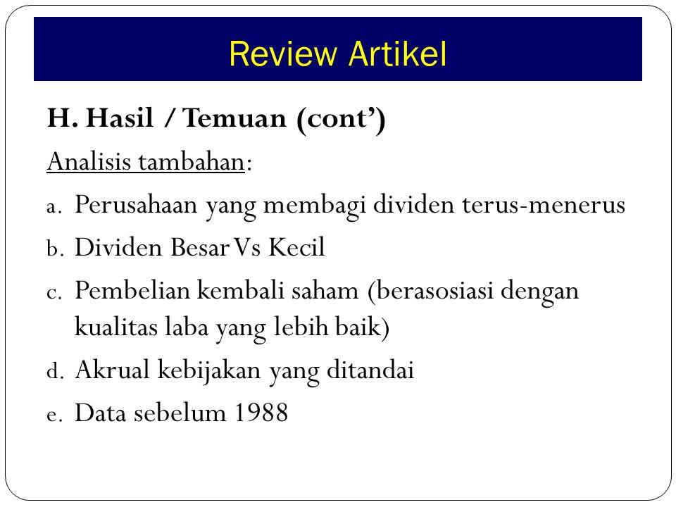 Review Artikel H. Hasil / Temuan (cont') Analisis tambahan: a.