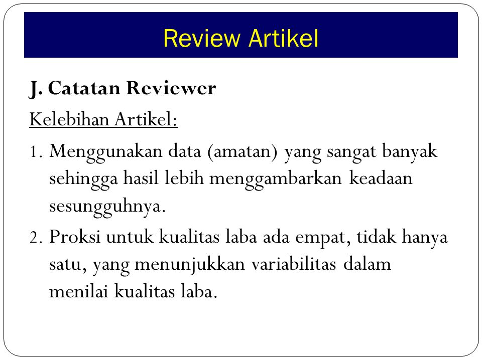 Review Artikel J.Catatan Reviewer Kelebihan Artikel: 1.