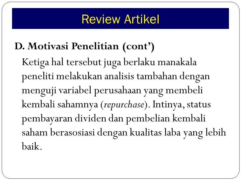 Review Artikel J.Catatan Reviewer (cont') Kelemahan Artikel: 1.