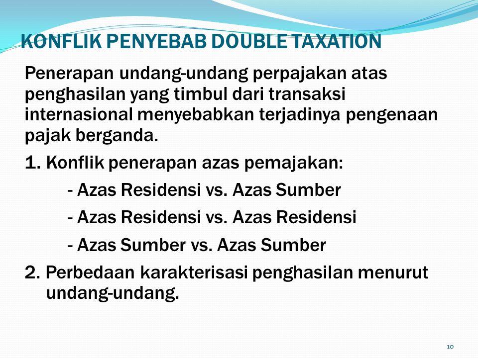 10 KONFLIK PENYEBAB DOUBLE TAXATION Penerapan undang-undang perpajakan atas penghasilan yang timbul dari transaksi internasional menyebabkan terjadinya pengenaan pajak berganda.