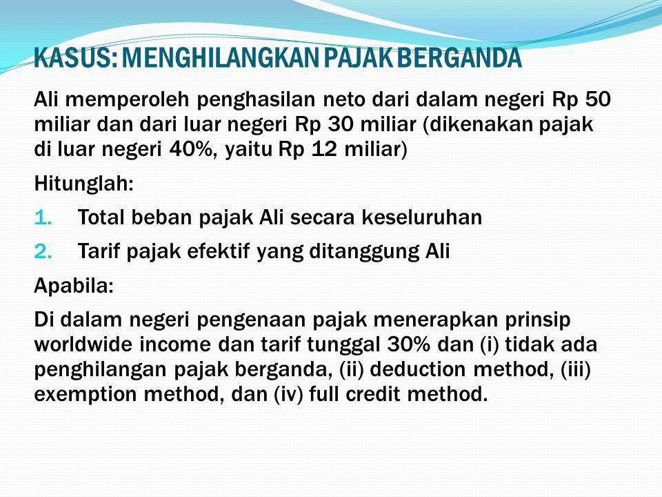 KASUS: MENGHILANGKAN PAJAK BERGANDA Ali memperoleh penghasilan neto dari dalam negeri Rp 50 miliar dan dari luar negeri Rp 30 miliar (dikenakan pajak di luar negeri 40%, yaitu Rp 12 miliar) Hitunglah: 1.