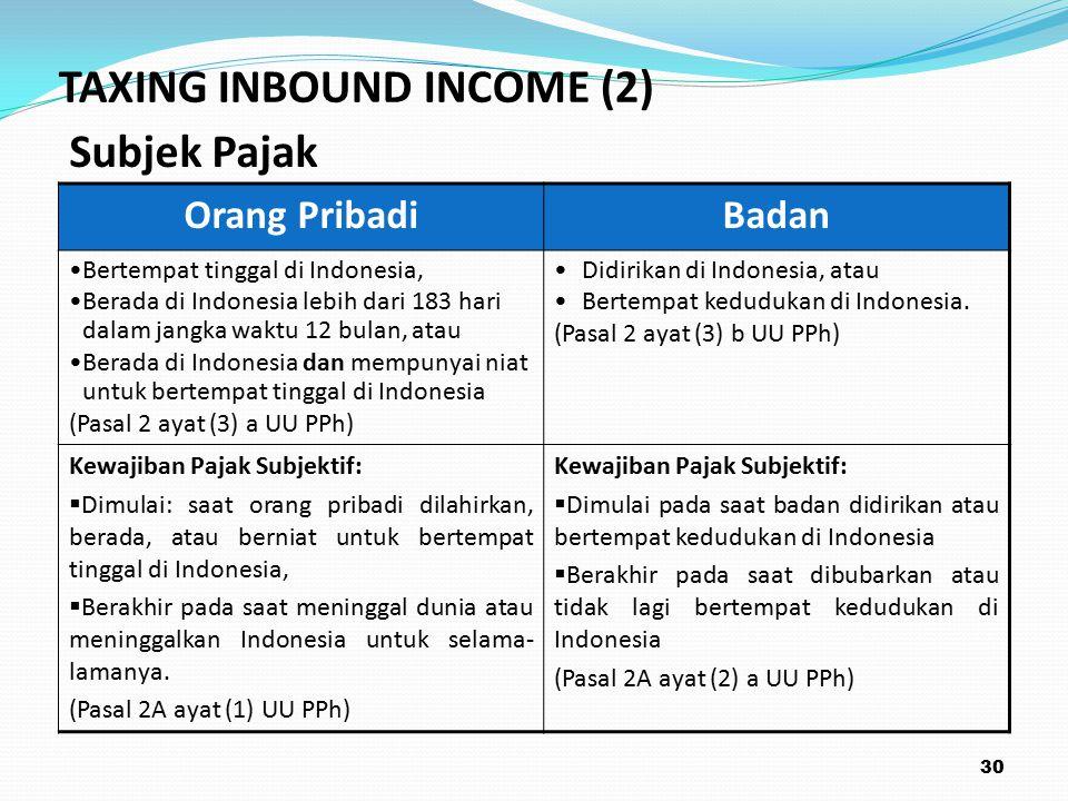 Orang PribadiBadan Bertempat tinggal di Indonesia, Berada di Indonesia lebih dari 183 hari dalam jangka waktu 12 bulan, atau Berada di Indonesia dan mempunyai niat untuk bertempat tinggal di Indonesia (Pasal 2 ayat (3) a UU PPh) Didirikan di Indonesia, atau Bertempat kedudukan di Indonesia.