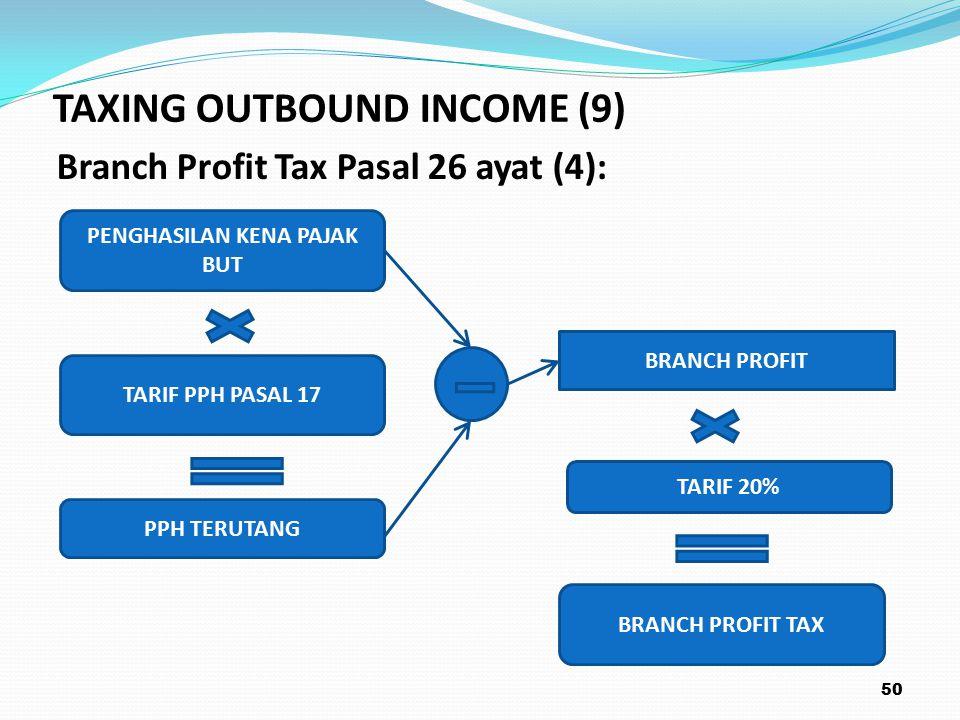 Branch Profit Tax Pasal 26 ayat (4): 50 PENGHASILAN KENA PAJAK BUT TARIF 20% BRANCH PROFIT PPH TERUTANG TARIF PPH PASAL 17 BRANCH PROFIT TAX TAXING OUTBOUND INCOME (9)