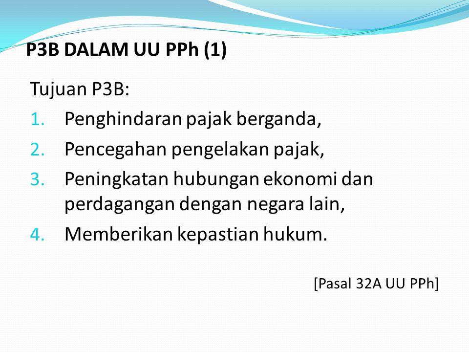 Tujuan P3B: 1.Penghindaran pajak berganda, 2. Pencegahan pengelakan pajak, 3.