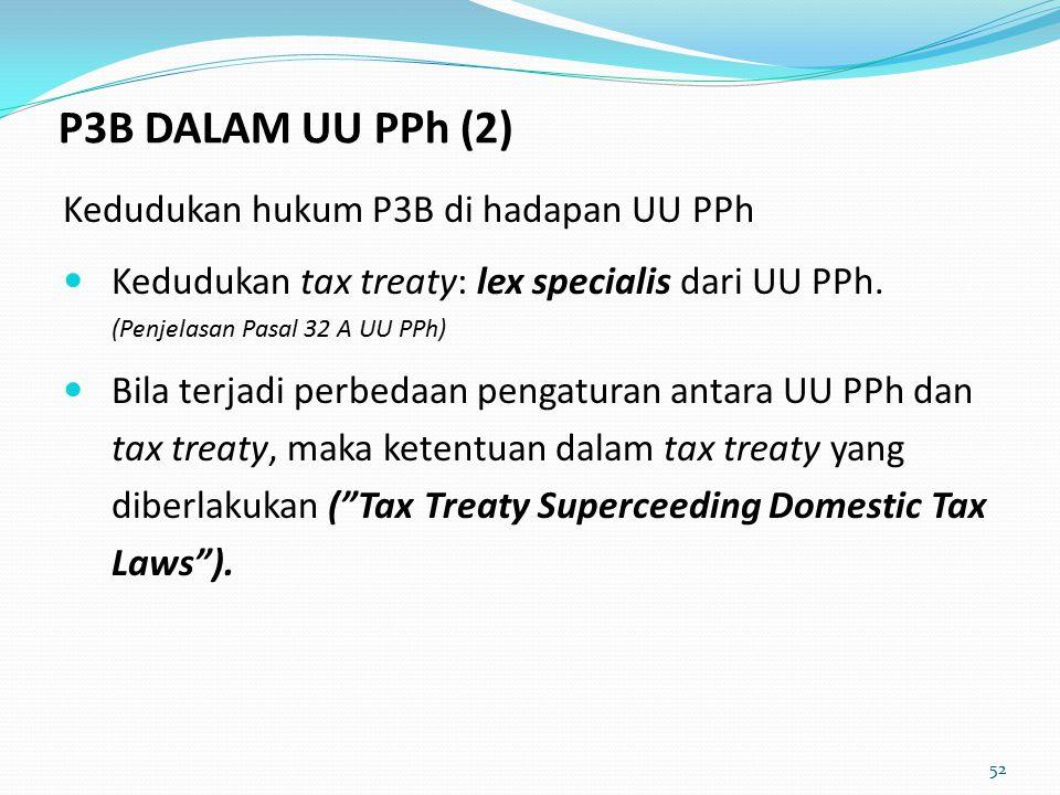 52 Kedudukan hukum P3B di hadapan UU PPh Kedudukan tax treaty: lex specialis dari UU PPh.