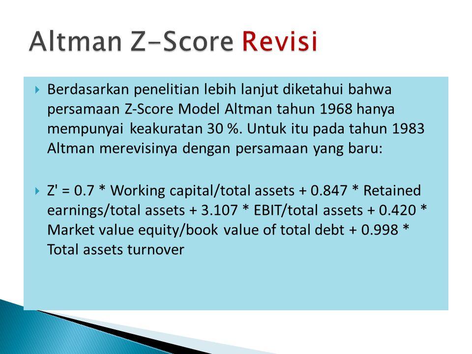  Berdasarkan penelitian lebih lanjut diketahui bahwa persamaan Z-Score Model Altman tahun 1968 hanya mempunyai keakuratan 30 %.