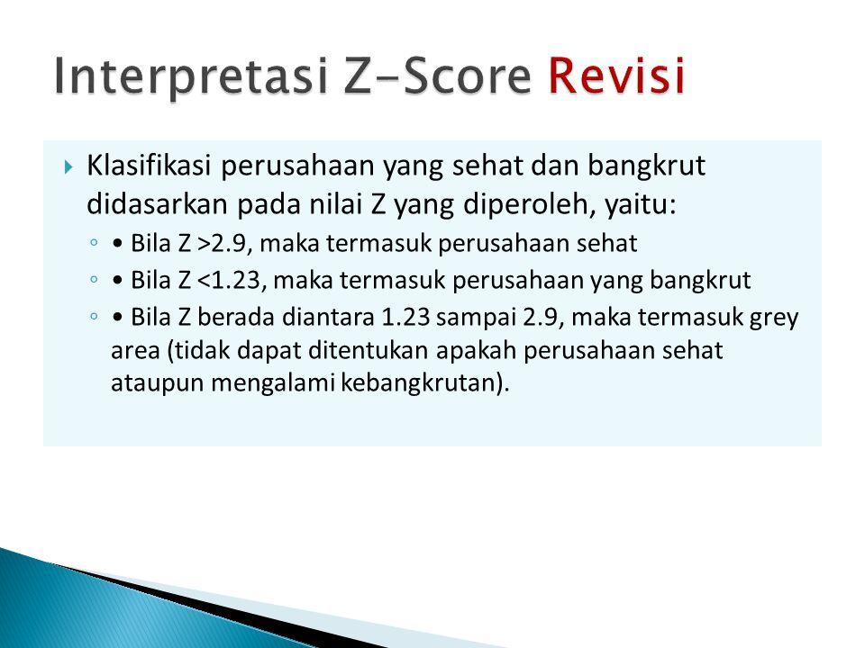  Klasifikasi perusahaan yang sehat dan bangkrut didasarkan pada nilai Z yang diperoleh, yaitu: ◦ Bila Z >2.9, maka termasuk perusahaan sehat ◦ Bila Z <1.23, maka termasuk perusahaan yang bangkrut ◦ Bila Z berada diantara 1.23 sampai 2.9, maka termasuk grey area (tidak dapat ditentukan apakah perusahaan sehat ataupun mengalami kebangkrutan).