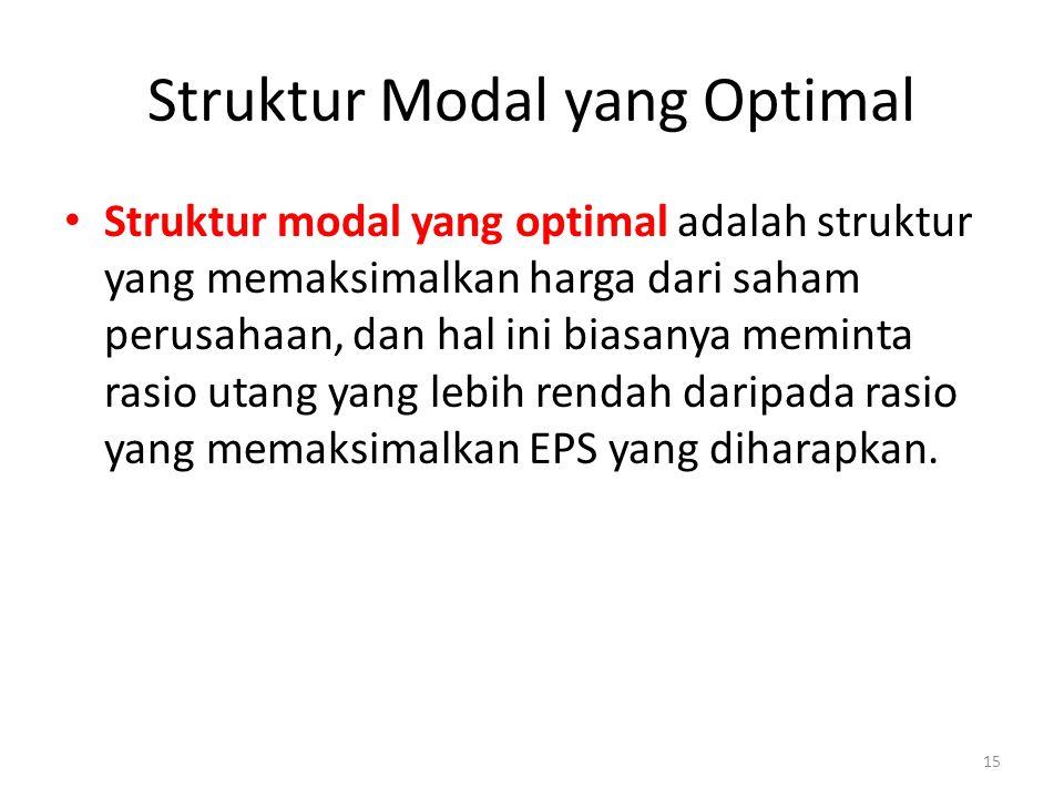 Struktur Modal yang Optimal Struktur modal yang optimal adalah struktur yang memaksimalkan harga dari saham perusahaan, dan hal ini biasanya meminta rasio utang yang lebih rendah daripada rasio yang memaksimalkan EPS yang diharapkan.