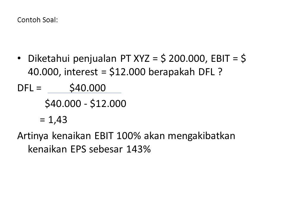 Contoh Soal: Diketahui penjualan PT XYZ = $ 200.000, EBIT = $ 40.000, interest = $12.000 berapakah DFL .