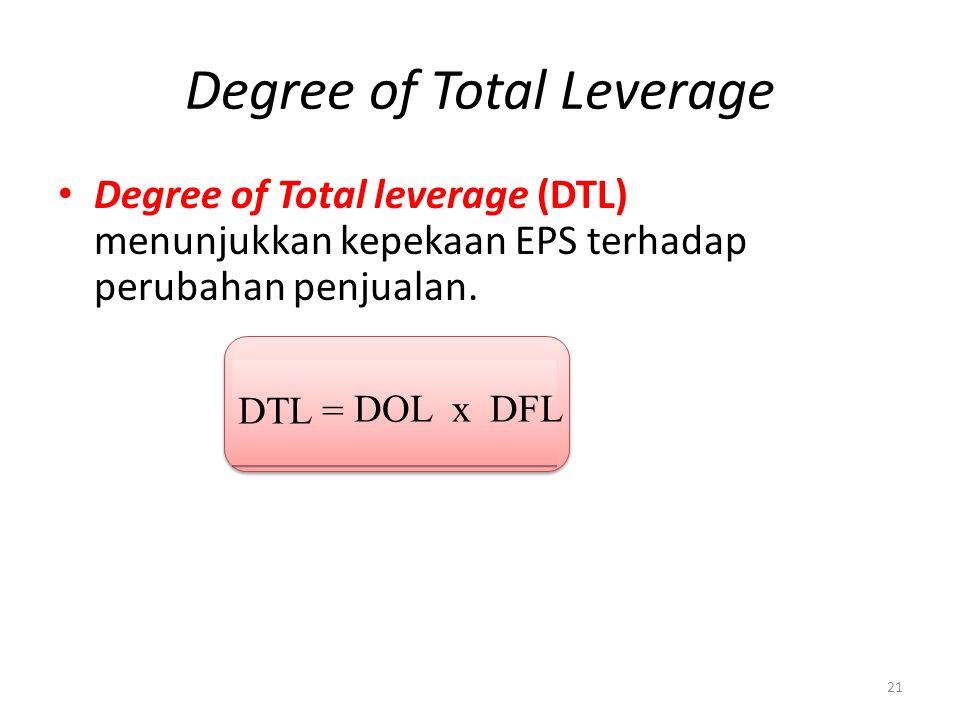 Degree of Total Leverage Degree of Total leverage (DTL) menunjukkan kepekaan EPS terhadap perubahan penjualan.