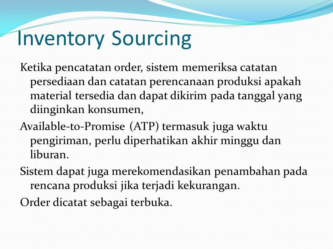 Inventory Sourcing Ketika pencatatan order, sistem memeriksa catatan persediaan dan catatan perencanaan produksi apakah material tersedia dan dapat dikirim pada tanggal yang diinginkan konsumen, Available-to-Promise (ATP) termasuk juga waktu pengiriman, perlu diperhatikan akhir minggu dan liburan.