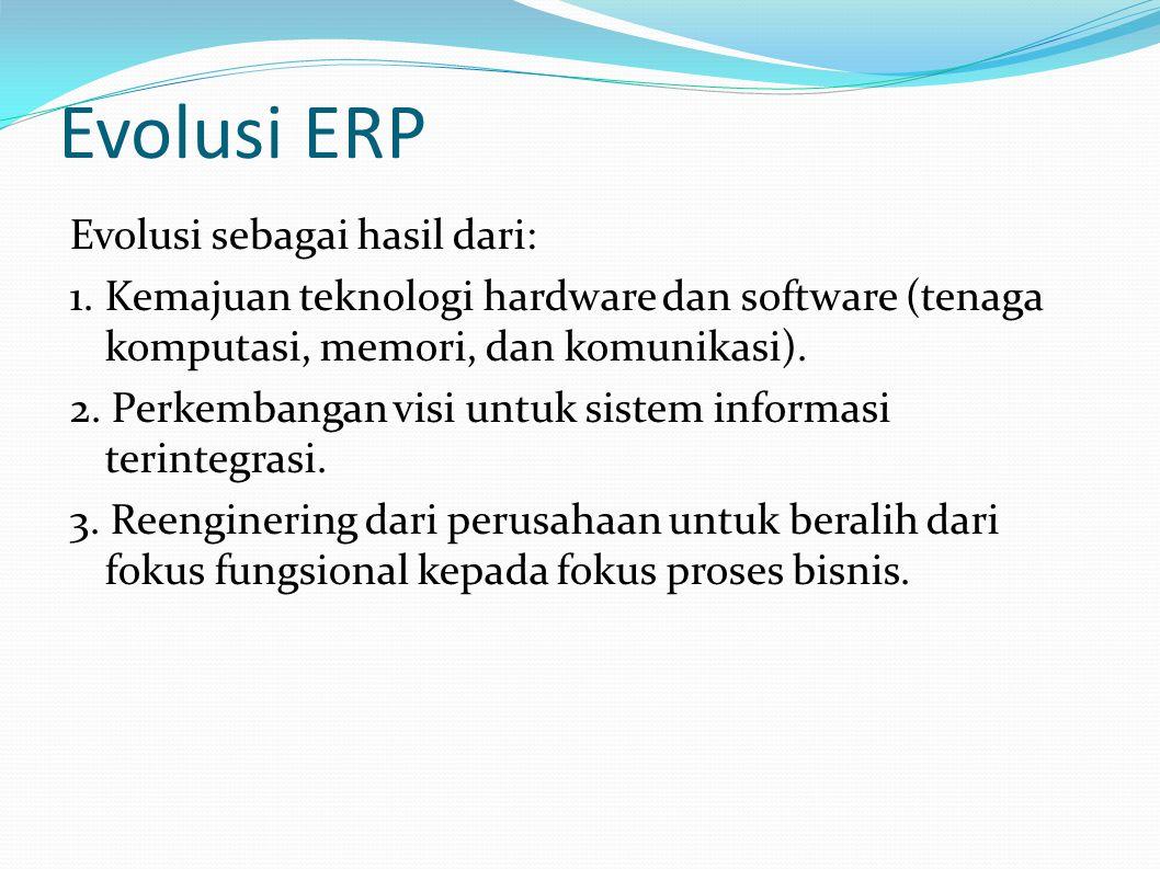 Evolusi ERP Evolusi sebagai hasil dari: 1.