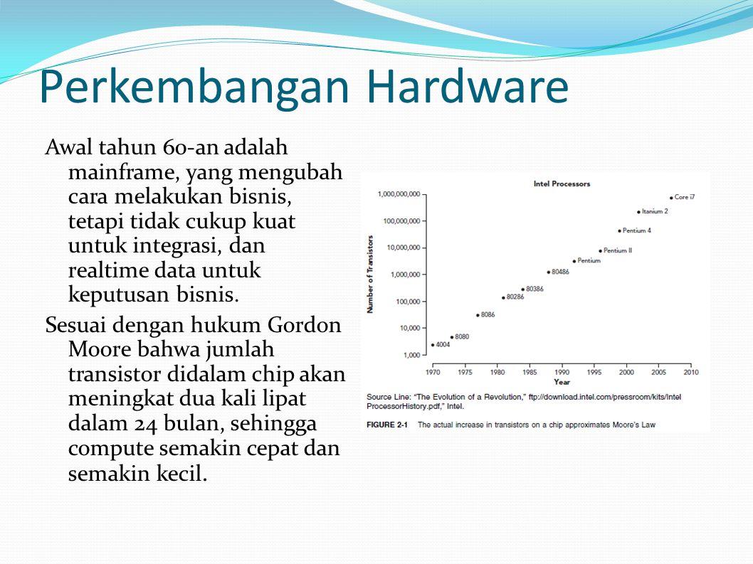 Perkembangan Hardware Awal tahun 60-an adalah mainframe, yang mengubah cara melakukan bisnis, tetapi tidak cukup kuat untuk integrasi, dan realtime data untuk keputusan bisnis.