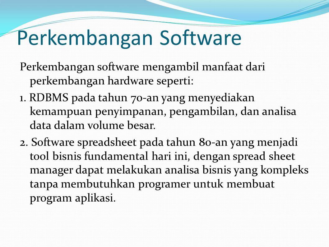 Perkembangan Software Perkembangan software mengambil manfaat dari perkembangan hardware seperti: 1.
