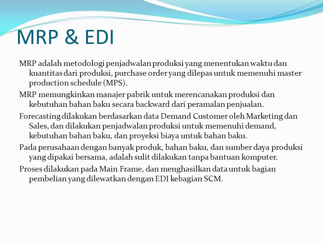 MRP & EDI MRP adalah metodologi penjadwalan produksi yang menentukan waktu dan kuantitas dari produksi, purchase order yang dilepas untuk memenuhi master production schedule (MPS).