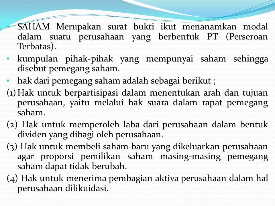 1/3/06 : PT Merah Bata menerima pesanan 100 lembar saham dengan nomnial Rp 200.000, kurs 110%, menerima pembayaran 60%, sisanya dibayar 2 bulan.