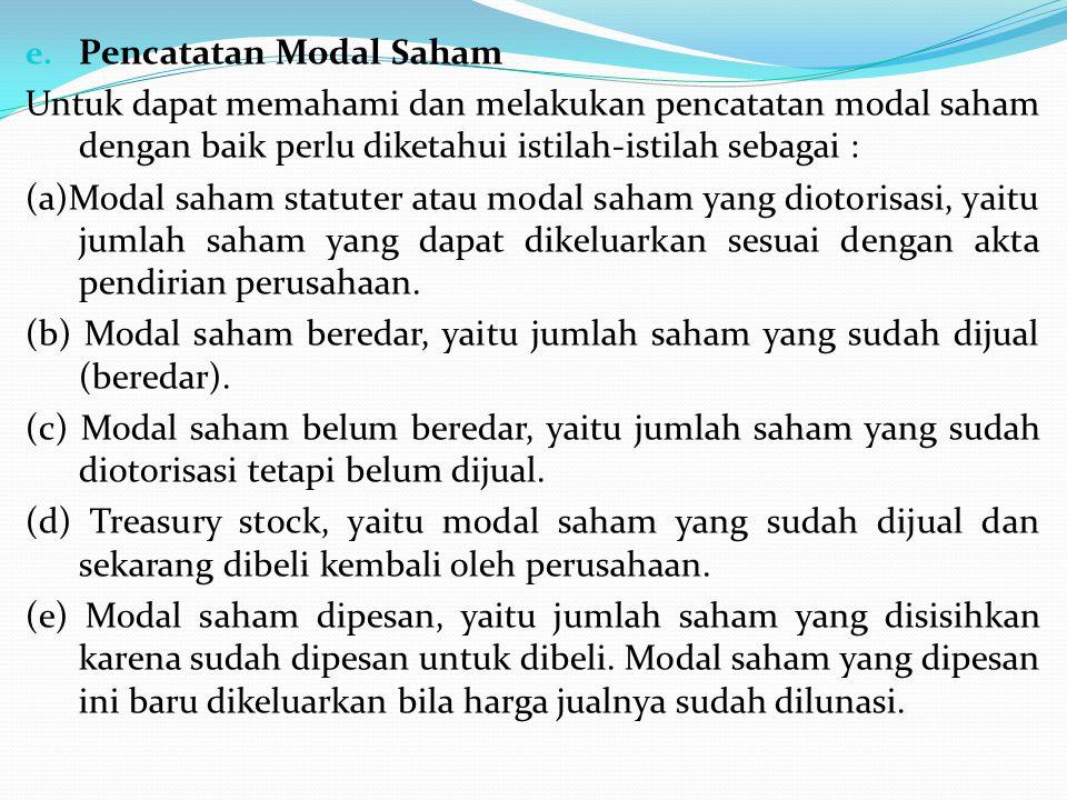 e. Pencatatan Modal Saham Untuk dapat memahami dan melakukan pencatatan modal saham dengan baik perlu diketahui istilah-istilah sebagai : (a)Modal sah