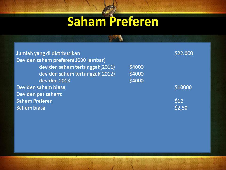 Saham Preferen Jumlah yang di distrbusikan$22.000 Deviden saham preferen(1000 lembar) deviden saham tertunggak(2011)$4000 deviden saham tertunggak(201
