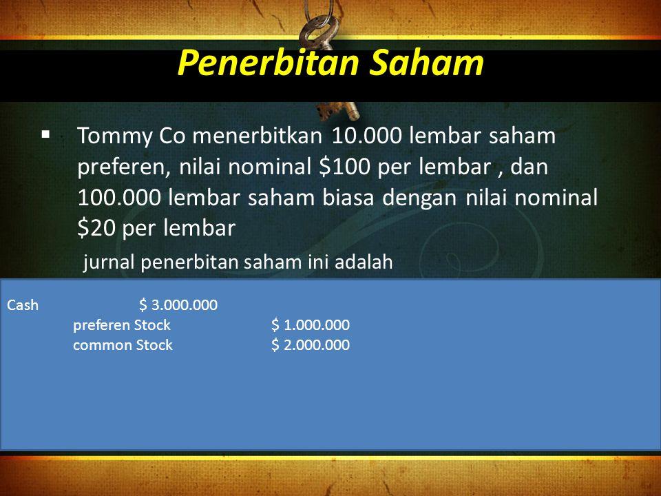 Penerbitan Saham  Tommy Co menerbitkan 10.000 lembar saham preferen, nilai nominal $100 per lembar, dan 100.000 lembar saham biasa dengan nilai nomin