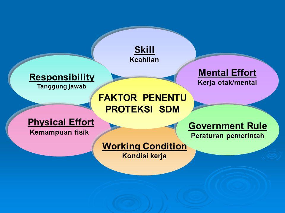 Skill Keahlian Responsibility Tanggung jawab Physical Effort Kemampuan fisik Working Condition Kondisi kerja Mental Effort Kerja otak/mental Government Rule Peraturan pemerintah FAKTOR PENENTU PROTEKSI SDM