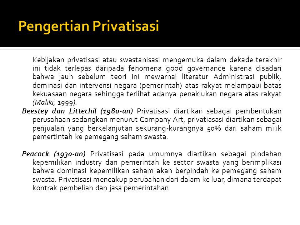 Dunleavy (1980-an) Privatisasi diartikan sebagai pemindahan permanen aktivasi produksi barang dan jasa yang dilakukan oleh perusahaan Negara ke perusahaan swasta atau dalam bentuk organisasi non publik seperti lembaga swadaya masyarakat.