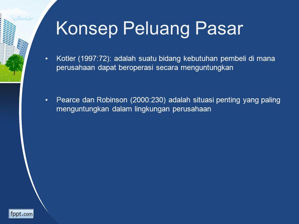 Konsep Peluang Pasar Kotler (1997:72): adalah suatu bidang kebutuhan pembeli di mana perusahaan dapat beroperasi secara menguntungkan Pearce dan Robinson (2000:230) adalah situasi penting yang paling menguntungkan dalam lingkungan perusahaan