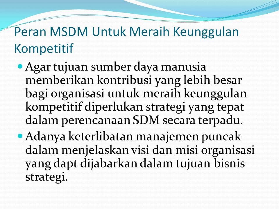 Peran MSDM Untuk Meraih Keunggulan Kompetitif Agar tujuan sumber daya manusia memberikan kontribusi yang lebih besar bagi organisasi untuk meraih keun