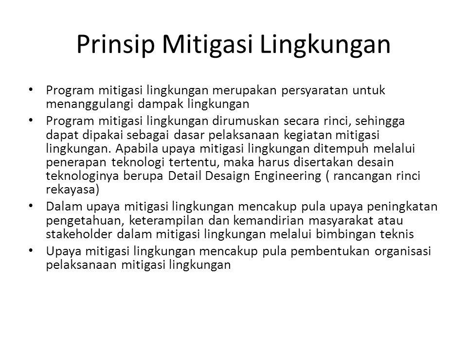 Prinsip Mitigasi Lingkungan Program mitigasi lingkungan merupakan persyaratan untuk menanggulangi dampak lingkungan Program mitigasi lingkungan dirumu