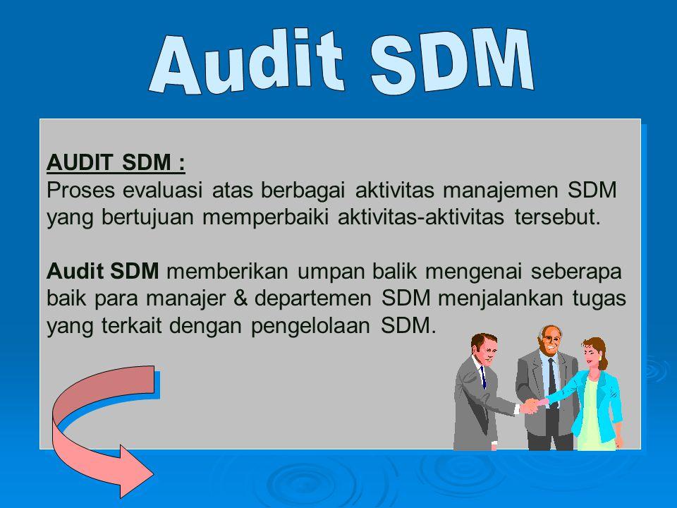 AUDIT SDM : Proses evaluasi atas berbagai aktivitas manajemen SDM yang bertujuan memperbaiki aktivitas-aktivitas tersebut. Audit SDM memberikan umpan