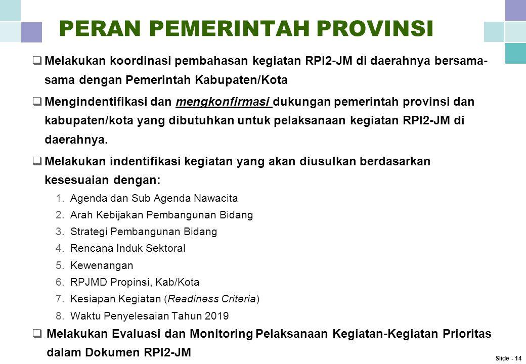 PERAN PEMERINTAH PROVINSI  Melakukan koordinasi pembahasan kegiatan RPI2-JM di daerahnya bersama- sama dengan Pemerintah Kabupaten/Kota  Mengindentifikasi dan mengkonfirmasi dukungan pemerintah provinsi dan kabupaten/kota yang dibutuhkan untuk pelaksanaan kegiatan RPI2-JM di daerahnya.