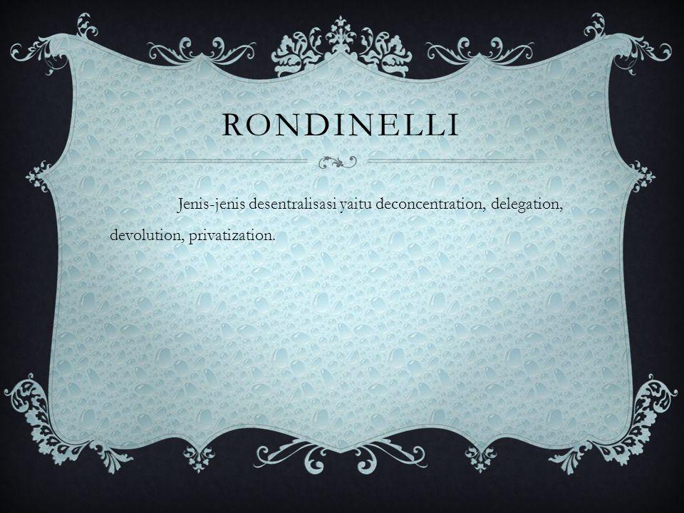 RONDINELLI Jenis-jenis desentralisasi yaitu deconcentration, delegation, devolution, privatization.