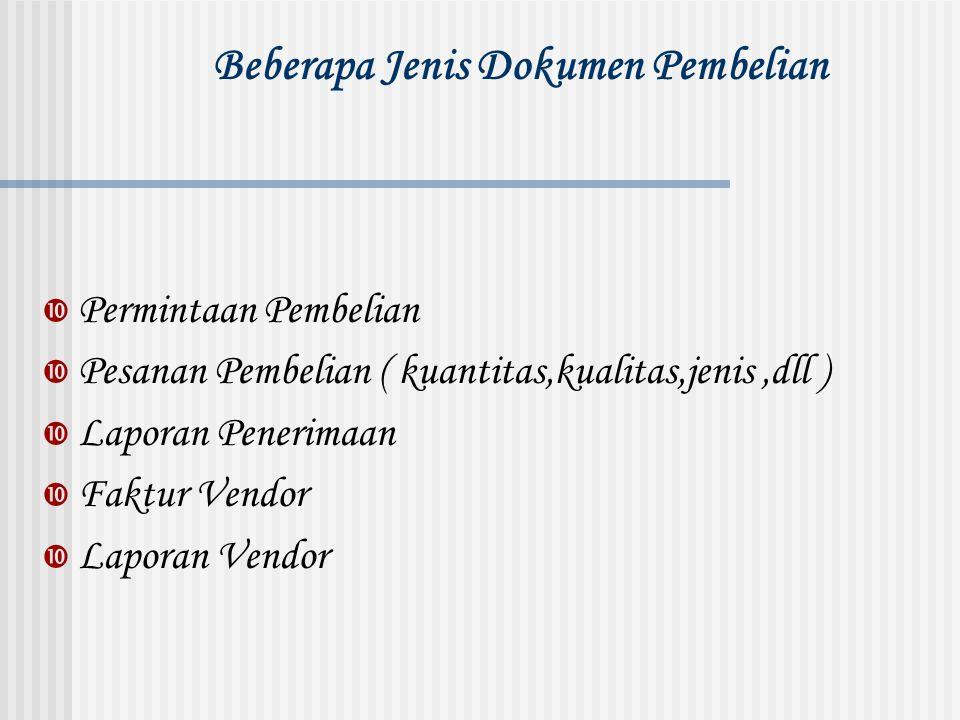 Beberapa Jenis Dokumen Pembelian  Permintaan Pembelian  Pesanan Pembelian ( kuantitas,kualitas,jenis,dll )  Laporan Penerimaan  Faktur Vendor  La