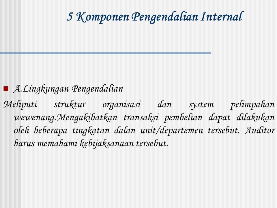 5 Komponen Pengendalian Internal A.Lingkungan Pengendalian Meliputi struktur organisasi dan system pelimpahan wewenang.Mengakibatkan transaksi pembeli