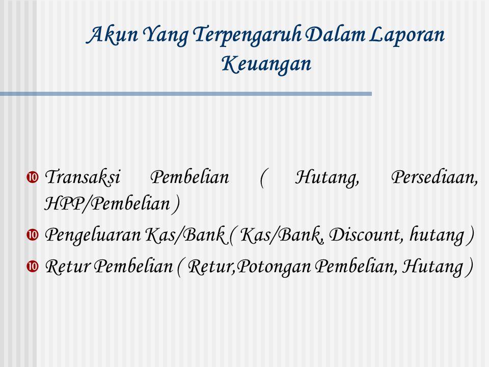 Akun Yang Terpengaruh Dalam Laporan Keuangan  Transaksi Pembelian ( Hutang, Persediaan, HPP/Pembelian )  Pengeluaran Kas/Bank ( Kas/Bank, Discount,