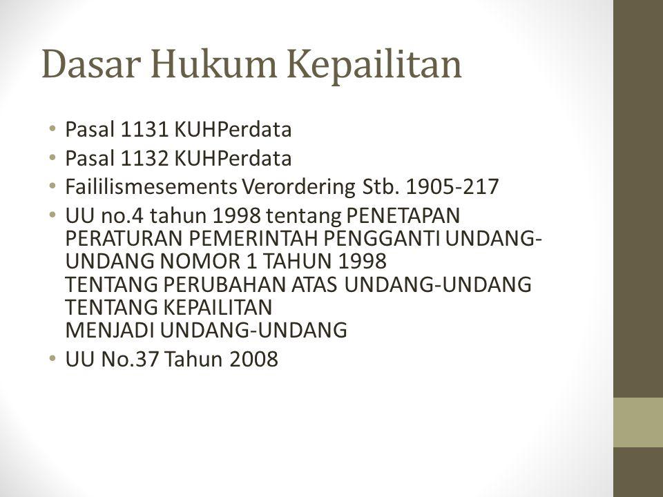Dasar Hukum Kepailitan Pasal 1131 KUHPerdata Pasal 1132 KUHPerdata Faililismesements Verordering Stb. 1905-217 UU no.4 tahun 1998 tentang PENETAPAN PE