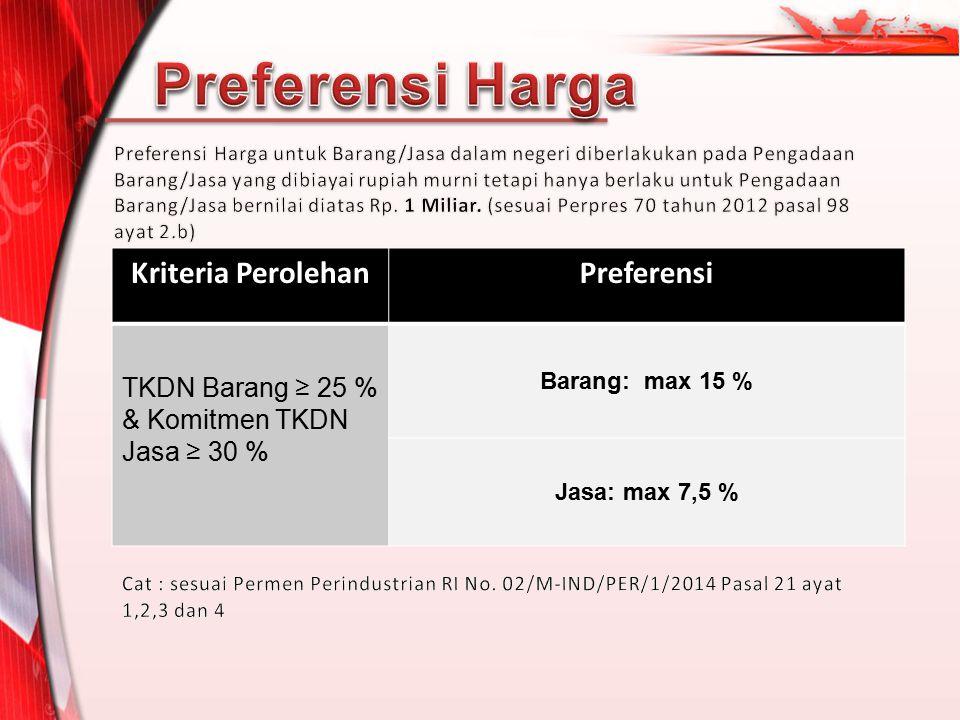 Kriteria PerolehanPreferensi TKDN Barang ≥ 25 % & Komitmen TKDN Jasa ≥ 30 % Barang: max 15 % Jasa: max 7,5 %