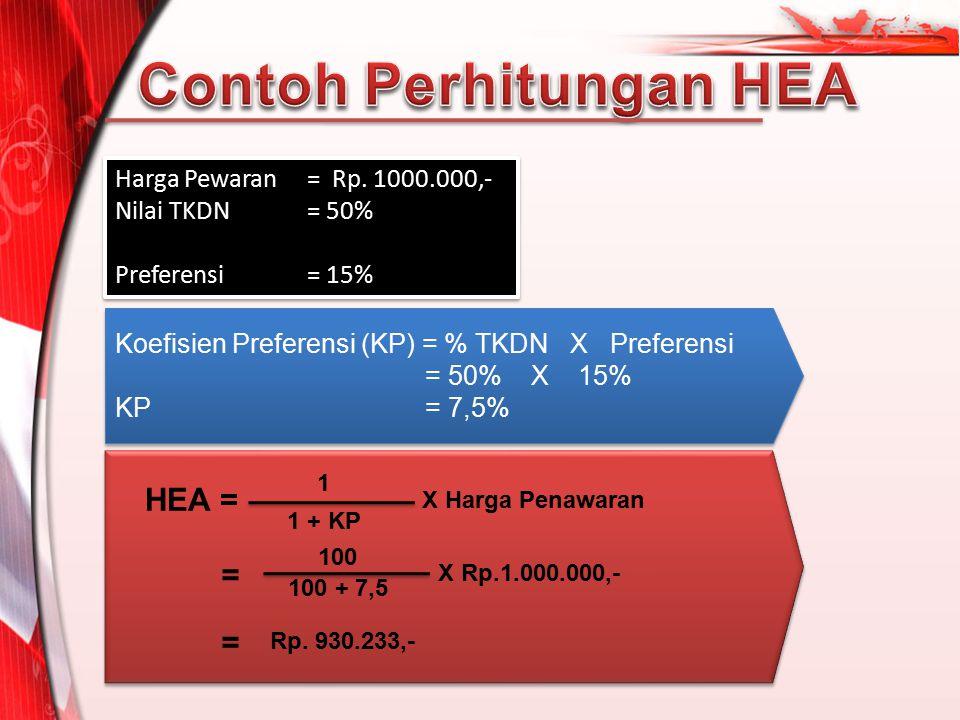 Harga Pewaran = Rp. 1000.000,- Nilai TKDN= 50% Preferensi = 15% Harga Pewaran = Rp. 1000.000,- Nilai TKDN= 50% Preferensi = 15% Koefisien Preferensi (