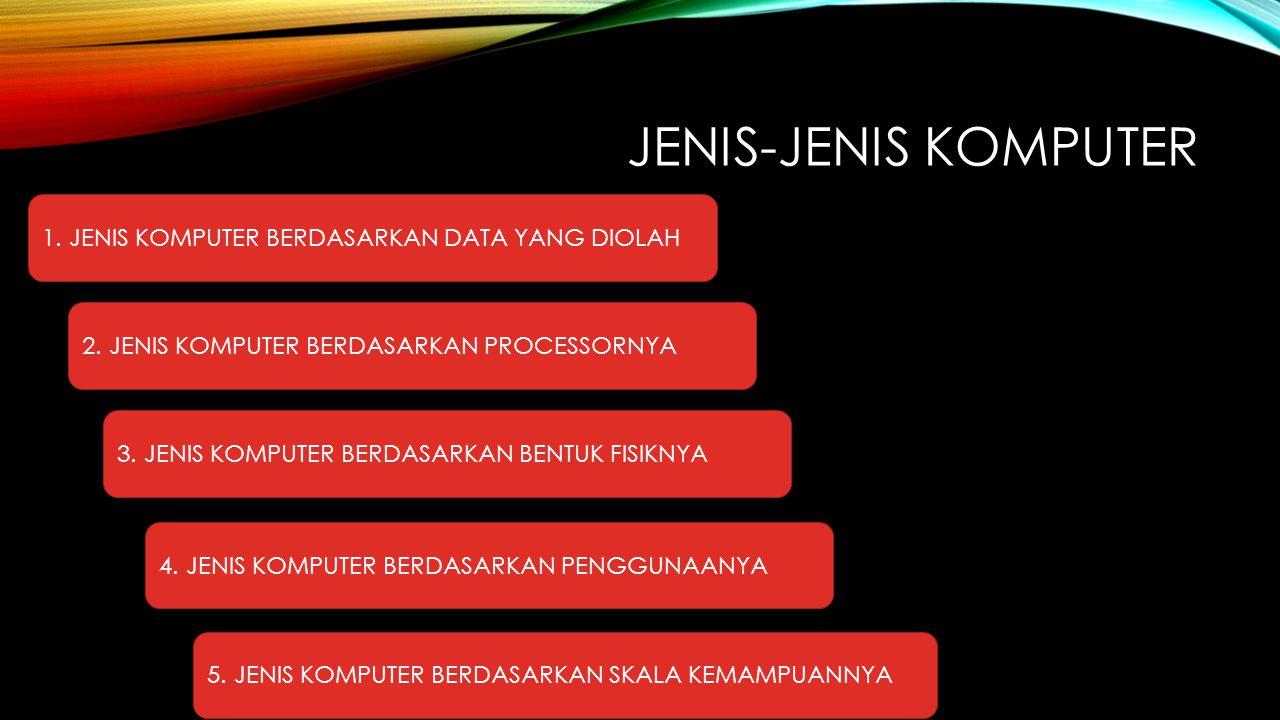JENIS-JENIS KOMPUTER 1. JENIS KOMPUTER BERDASARKAN DATA YANG DIOLAH 2. JENIS KOMPUTER BERDASARKAN PROCESSORNYA 3. JENIS KOMPUTER BERDASARKAN BENTUK FI