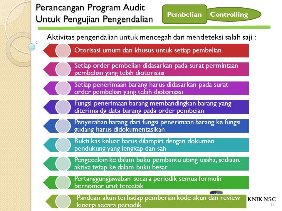 Perancangan Program Audit Untuk Pengujian Pengendalian POLITEKNIK NSC Controlling Aktivitas pengendalian untuk mencegah dan mendeteksi salah saji : Ot