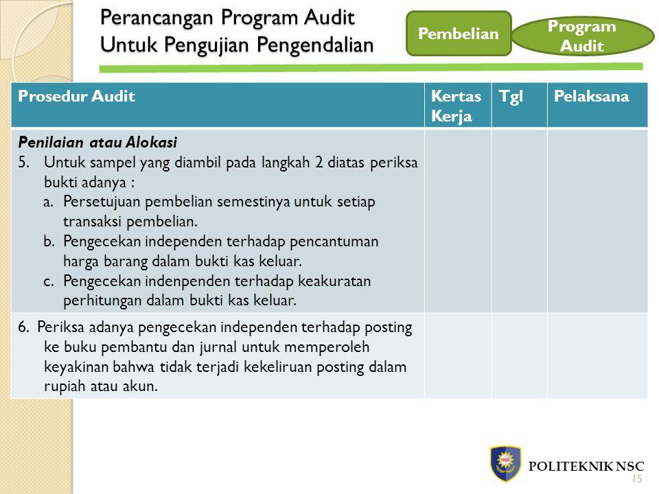Perancangan Program Audit Untuk Pengujian Pengendalian POLITEKNIK NSC Pembelian Program Audit Prosedur AuditKertas Kerja TglPelaksana Penilaian atau A