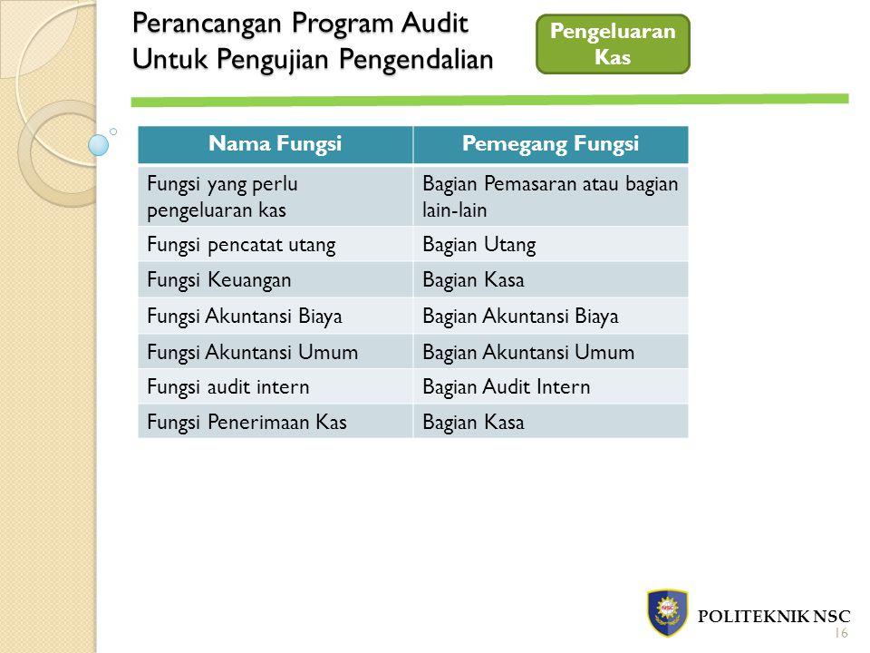 Perancangan Program Audit Untuk Pengujian Pengendalian POLITEKNIK NSC Pengeluaran Kas Nama FungsiPemegang Fungsi Fungsi yang perlu pengeluaran kas Bag