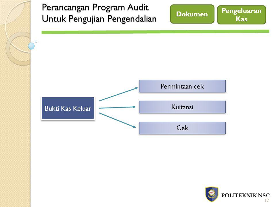 Perancangan Program Audit Untuk Pengujian Pengendalian POLITEKNIK NSC Dokumen 17 Bukti Kas Keluar Permintaan cek Kuitansi Cek Pengeluaran Kas