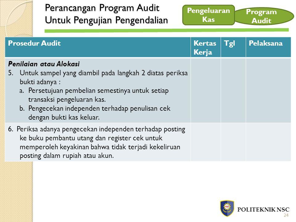 Perancangan Program Audit Untuk Pengujian Pengendalian POLITEKNIK NSC Program Audit Prosedur AuditKertas Kerja TglPelaksana Penilaian atau Alokasi 5.