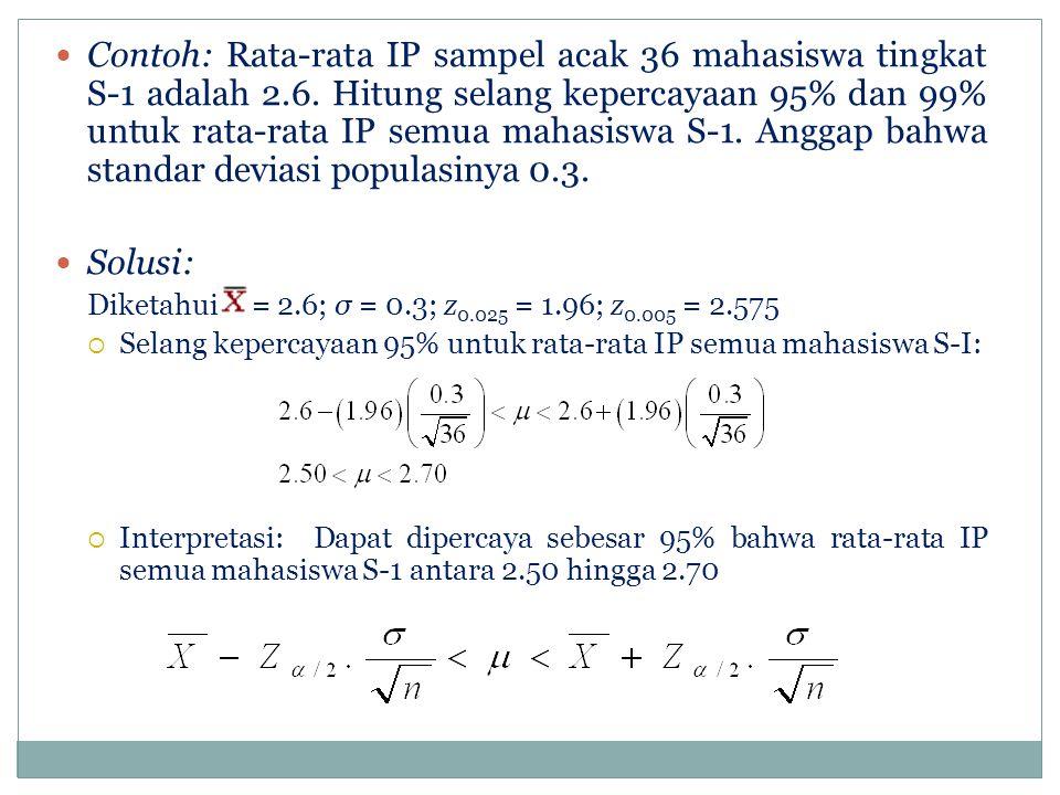 Contoh: Rata-rata IP sampel acak 36 mahasiswa tingkat S-1 adalah 2.6.