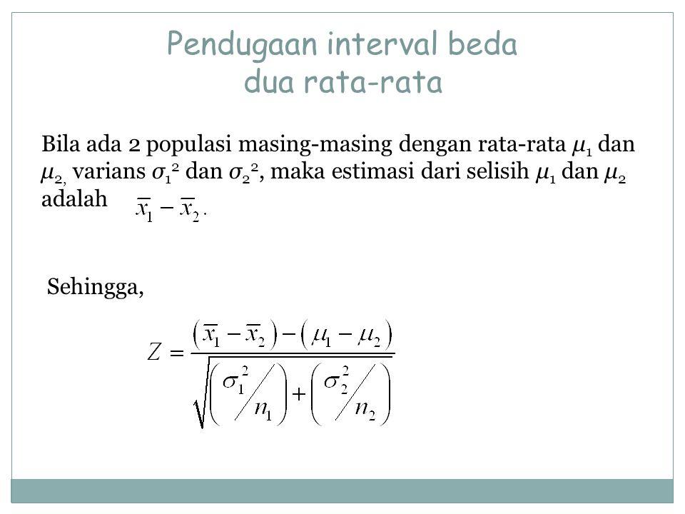 Pendugaan interval beda dua rata-rata Bila ada 2 populasi masing-masing dengan rata-rata μ 1 dan μ 2, varians σ 1 2 dan σ 2 2, maka estimasi dari seli