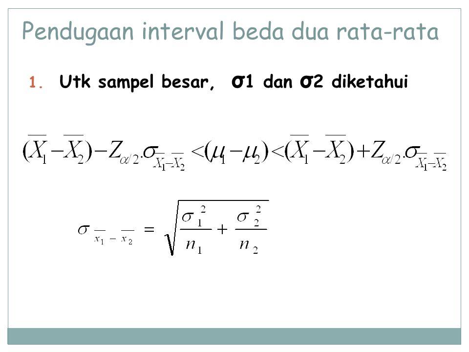 Pendugaan interval beda dua rata-rata 1. Utk sampel besar, σ 1 dan σ 2 diketahui